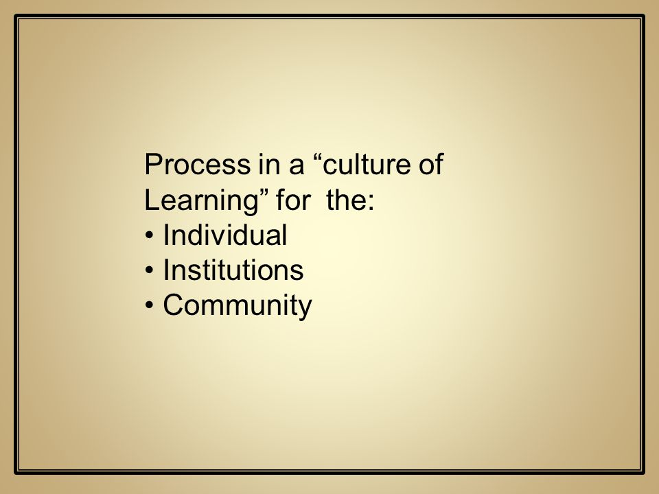 Process in a culture of Learning for the: Individual Institutions Community