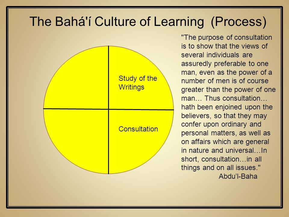 Study of the Writings The Bahá'í Culture of Learning (Process) Consultation