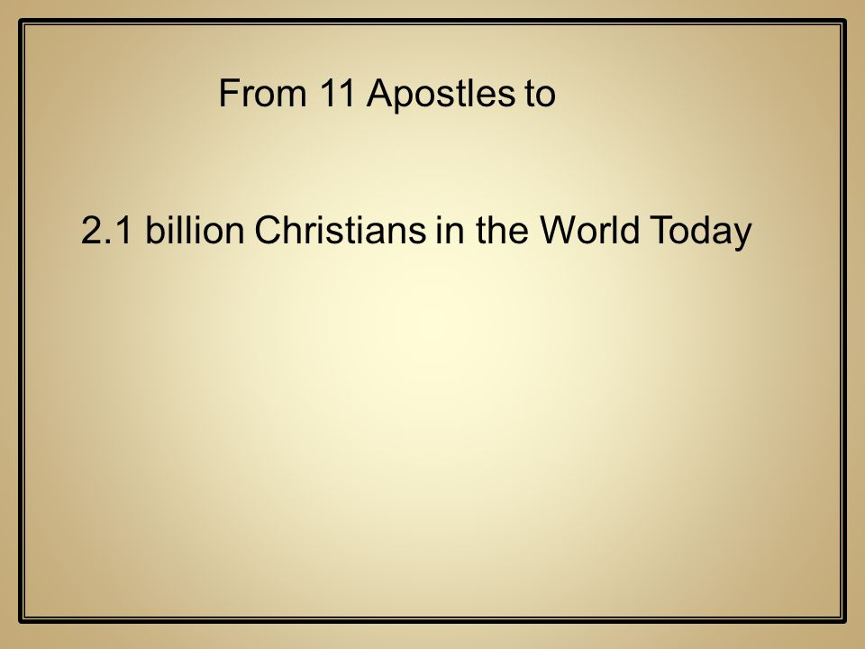 2.1 billion Christians in the World Today From 11 Apostles to