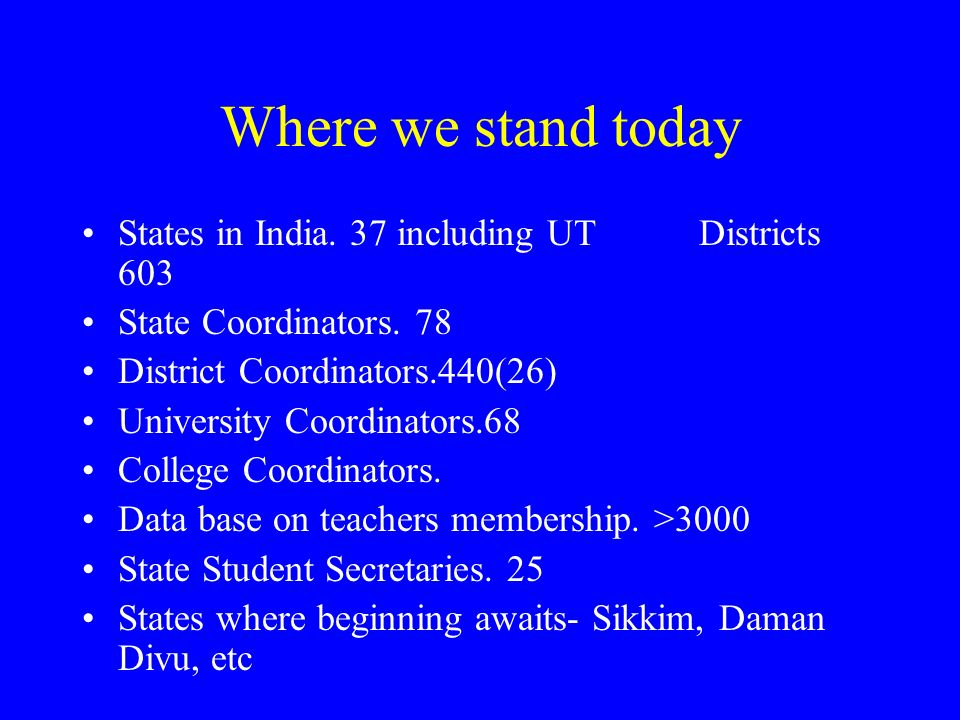 Where we stand today States in India. 37 including UT Districts 603 State Coordinators. 78 District Coordinators.440(26) University Coordinators.68 Co