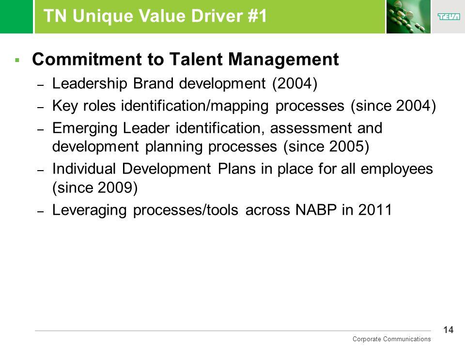 14 Corporate Communications TN Unique Value Driver #1 Commitment to Talent Management – Leadership Brand development (2004) – Key roles identification