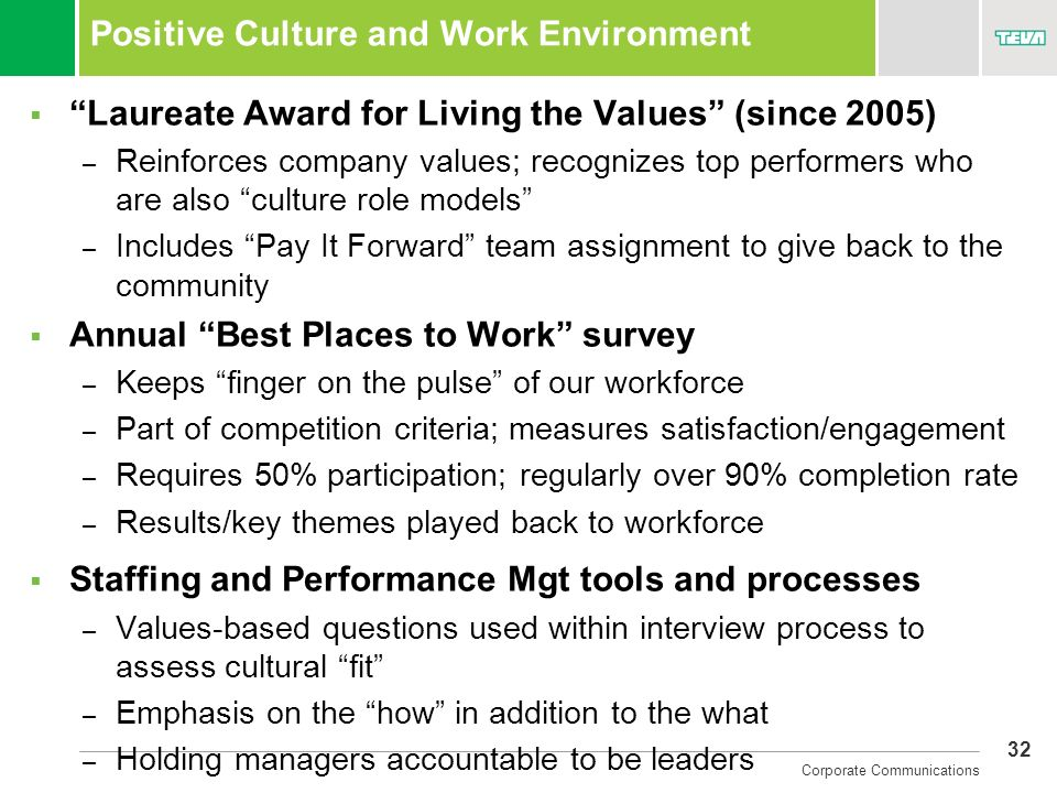 32 Corporate Communications Positive Culture and Work Environment Laureate Award for Living the Values (since 2005) – Reinforces company values; recog
