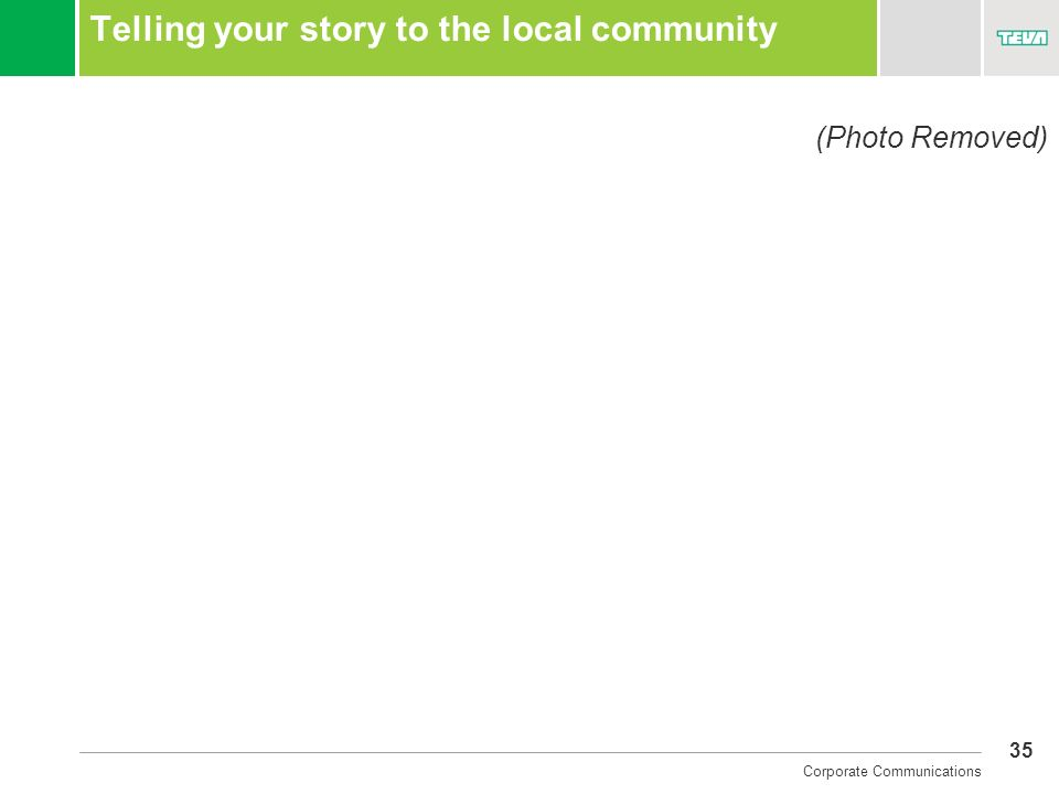 35 Corporate Communications Telling your story to the local community (Photo Removed)