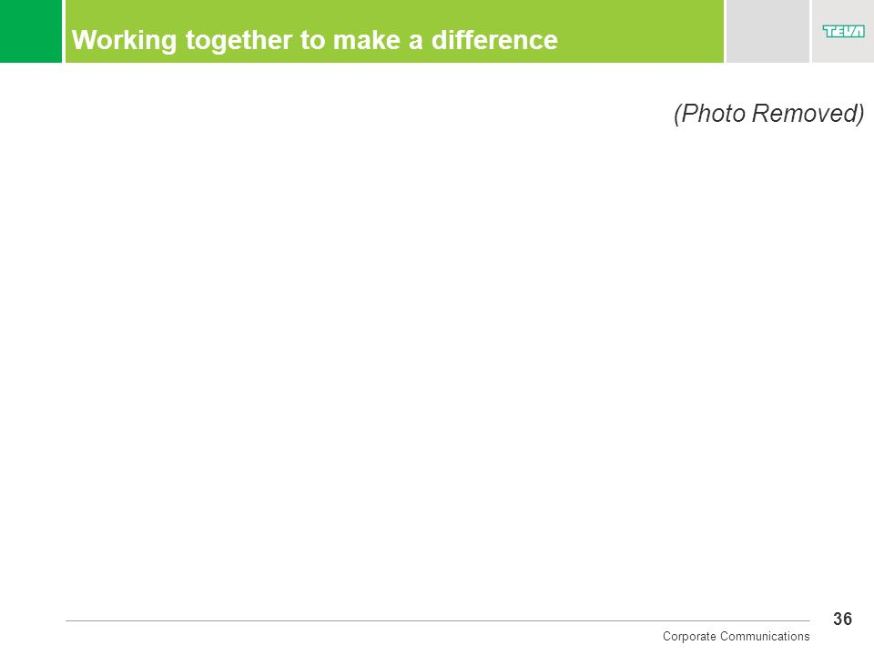 36 Corporate Communications Working together to make a difference (Photo Removed)