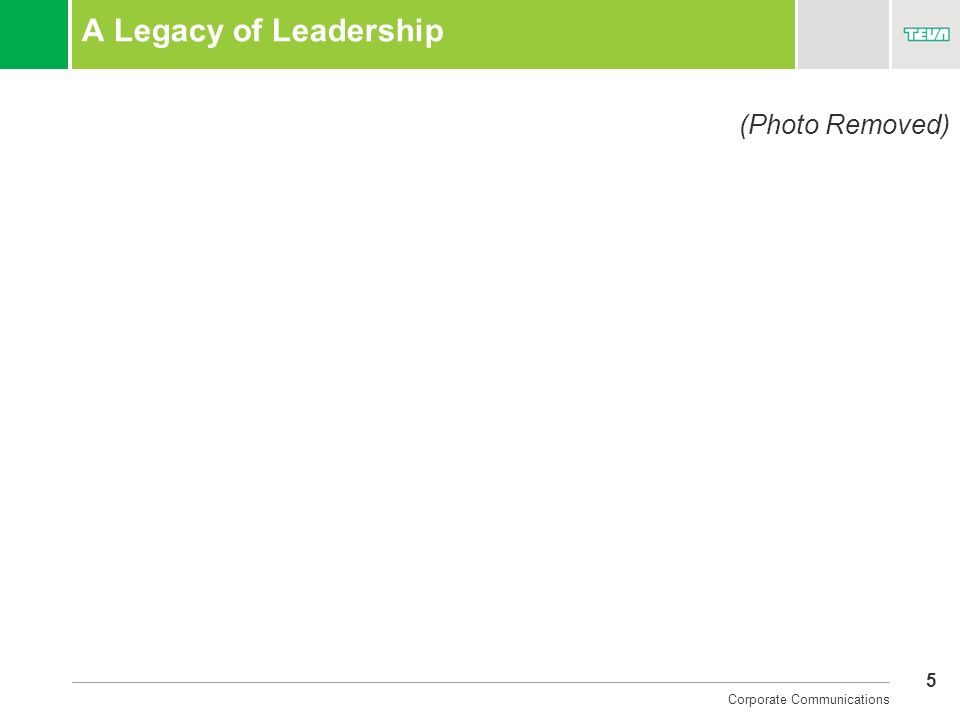 5 Corporate Communications A Legacy of Leadership (Photo Removed)