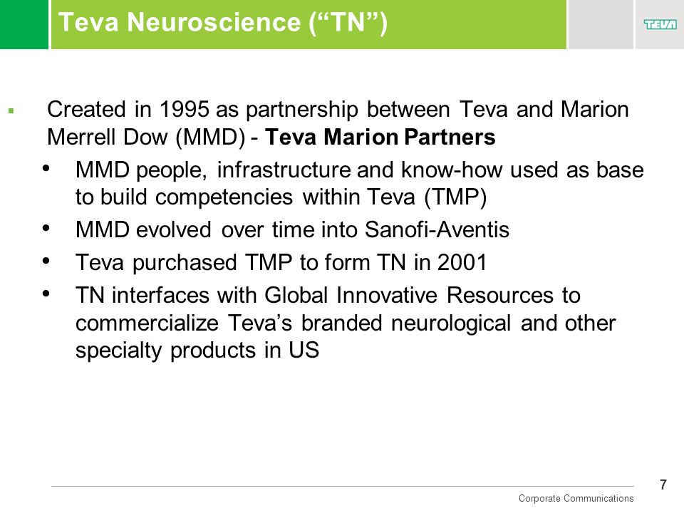 7 Corporate Communications Teva Neuroscience (TN) Created in 1995 as partnership between Teva and Marion Merrell Dow (MMD) - Teva Marion Partners MMD
