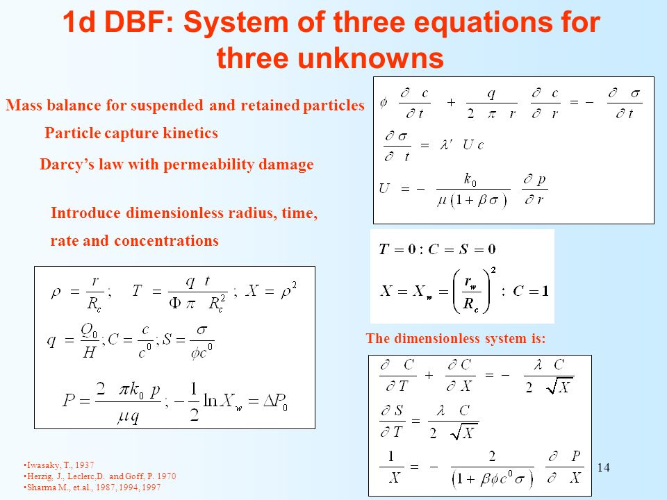 14 Introduce dimensionless radius, time, rate and concentrations The dimensionless system is: 1d DBF: System of three equations for three unknowns Mas