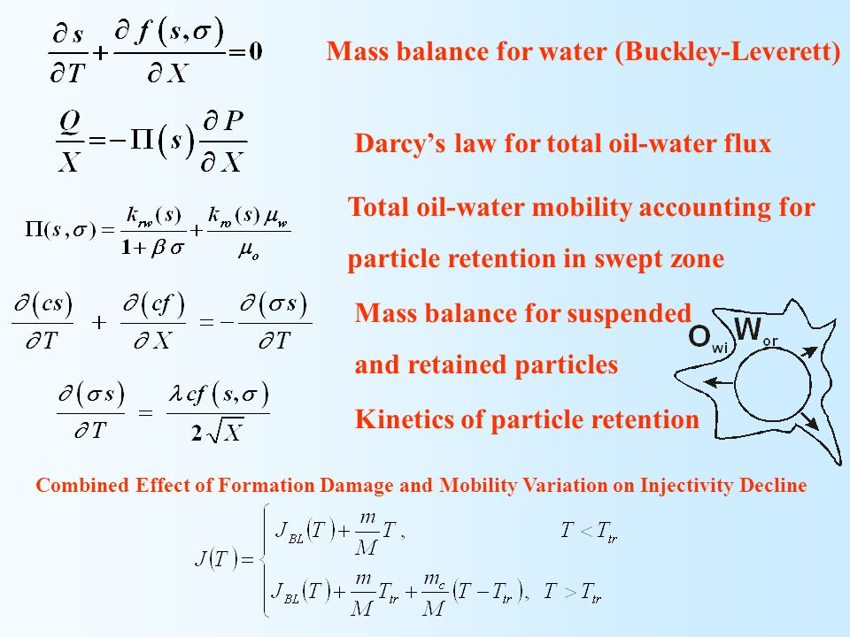 Combined Effect of Formation Damage and Mobility Variation on Injectivity Decline Mass balance for water (Buckley-Leverett) Darcys law for total oil-w