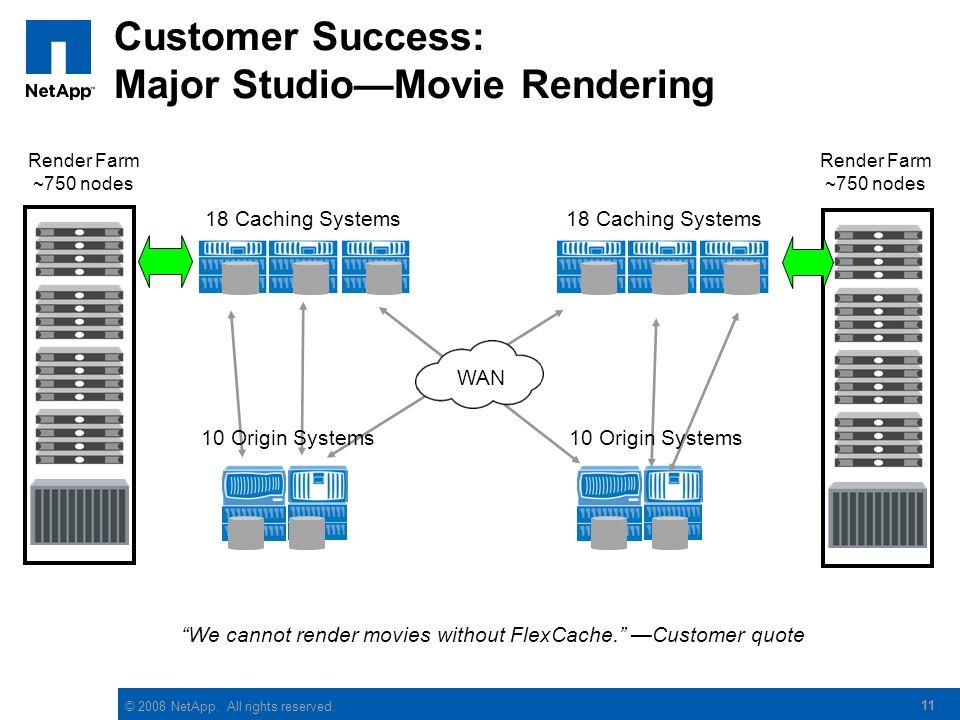 © 2008 NetApp. All rights reserved. 11 Customer Success: Major StudioMovie Rendering Render Farm ~750 nodes 18 Caching Systems Render Farm ~750 nodes