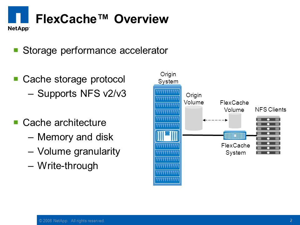 © 2008 NetApp. All rights reserved. 2 FlexCache Overview Storage performance accelerator Cache storage protocol –Supports NFS v2/v3 Cache architecture