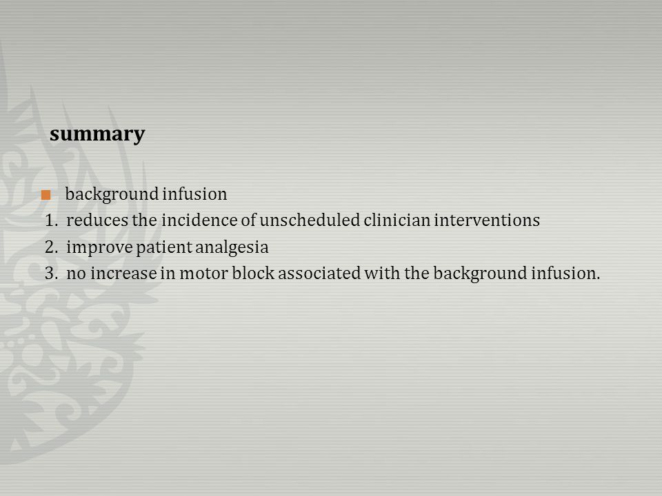 11 studies wide range of PCEA settings.Bupivacaine : 0.05% ~ 0.125%.