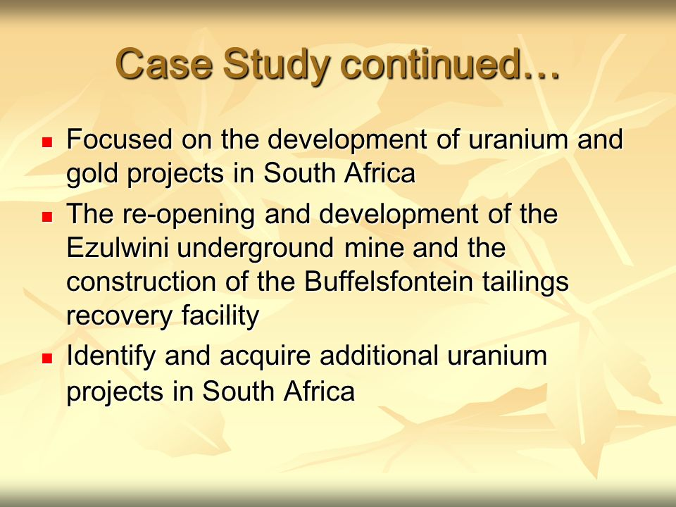 Case Study continued… Focused on the development of uranium and gold projects in South Africa Focused on the development of uranium and gold projects