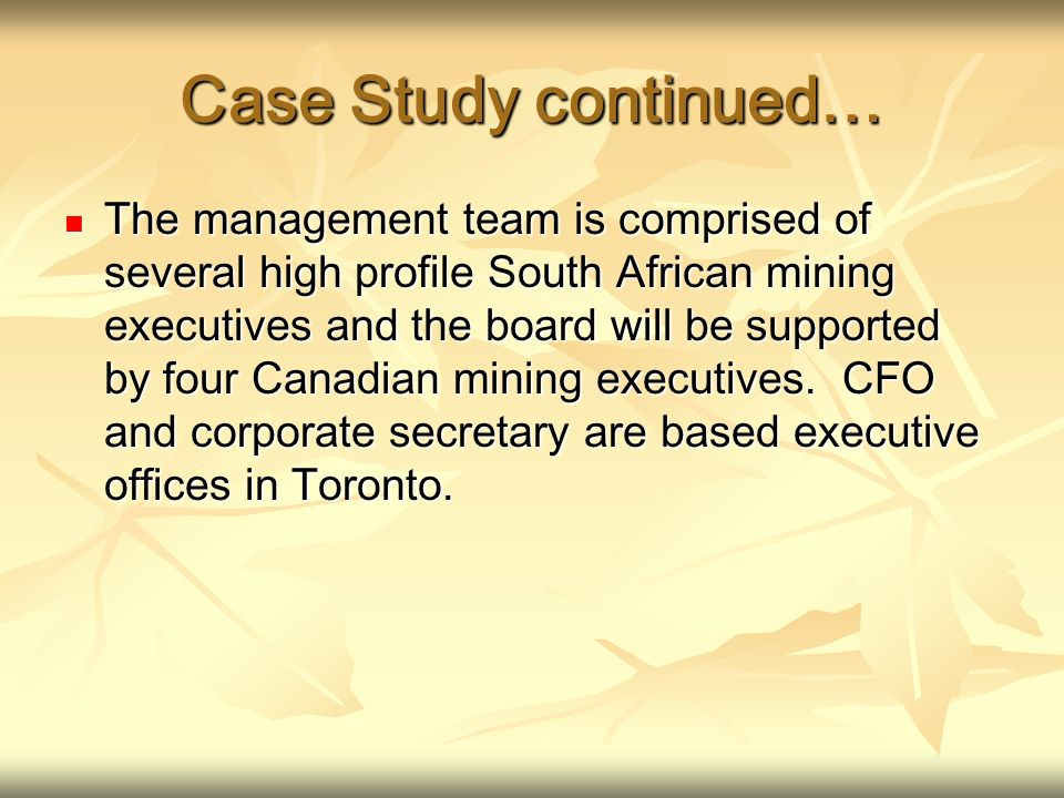 Case Study continued… The management team is comprised of several high profile South African mining executives and the board will be supported by four