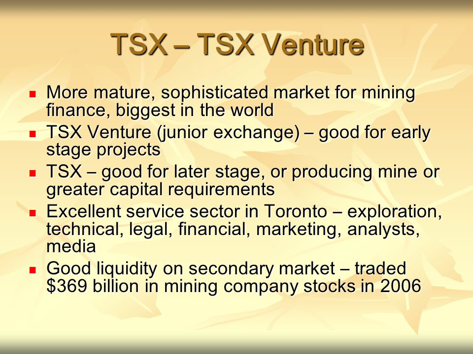 TSX – TSX Venture More mature, sophisticated market for mining finance, biggest in the world More mature, sophisticated market for mining finance, big