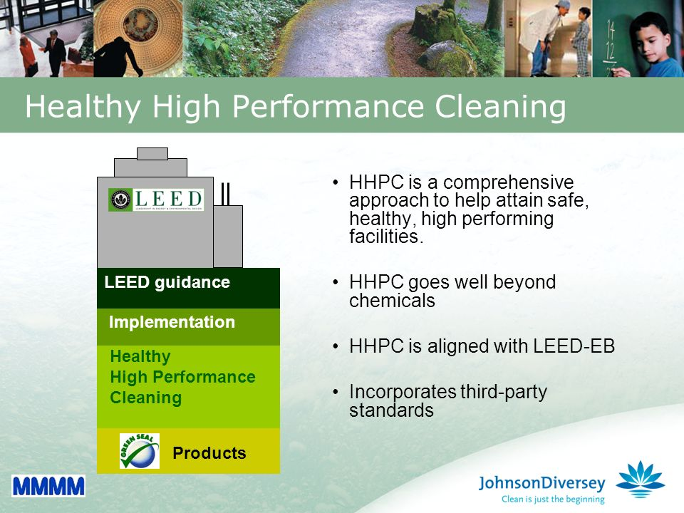 18 Healthy High Performance Cleaning HHPC is a comprehensive approach to help attain safe, healthy, high performing facilities.