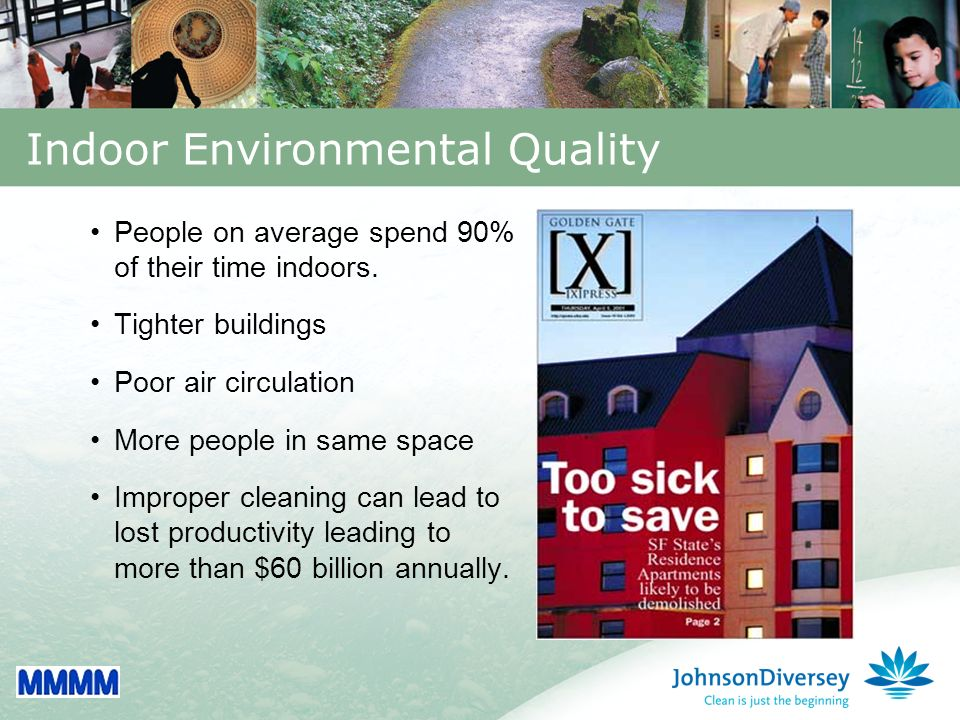 3 Indoor Environmental Quality People on average spend 90% of their time indoors.