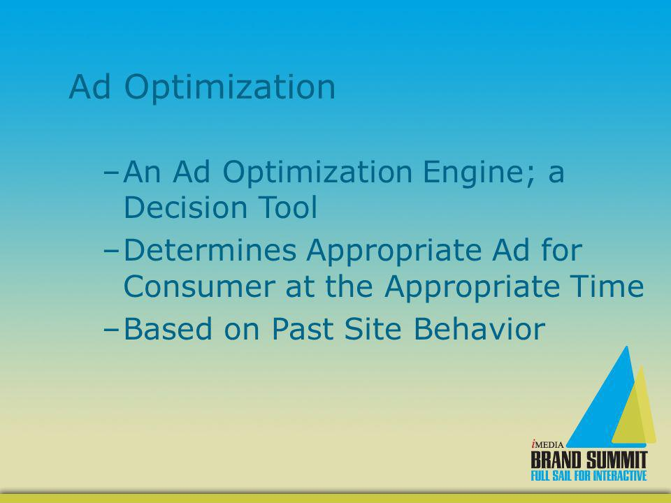 Ad Optimization –An Ad Optimization Engine; a Decision Tool –Determines Appropriate Ad for Consumer at the Appropriate Time –Based on Past Site Behavi