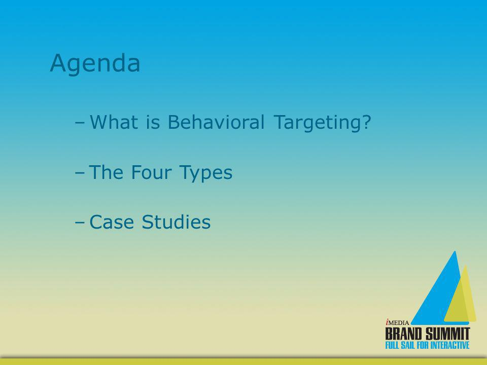 Agenda –What is Behavioral Targeting? –The Four Types –Case Studies