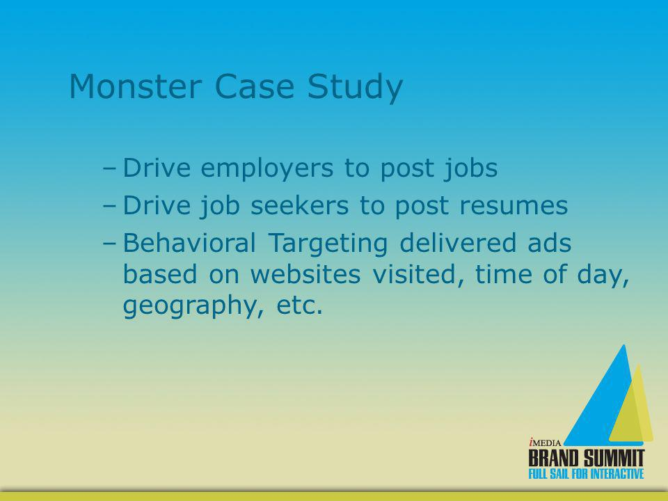 Monster Case Study –Drive employers to post jobs –Drive job seekers to post resumes –Behavioral Targeting delivered ads based on websites visited, time of day, geography, etc.