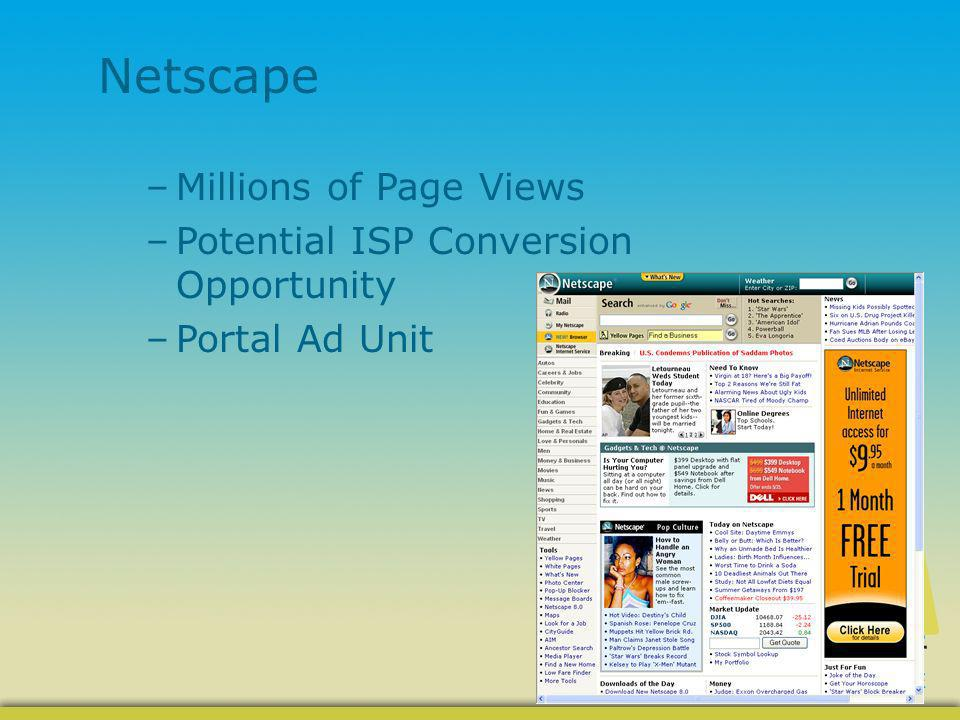 Netscape –Millions of Page Views –Potential ISP Conversion Opportunity –Portal Ad Unit