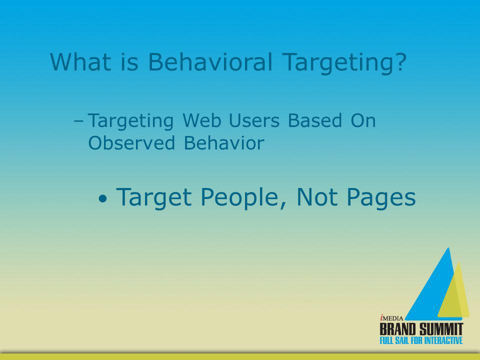 Four Types of Behavioral Targeting: –Publisher –Network –Ad Optimization –Computer