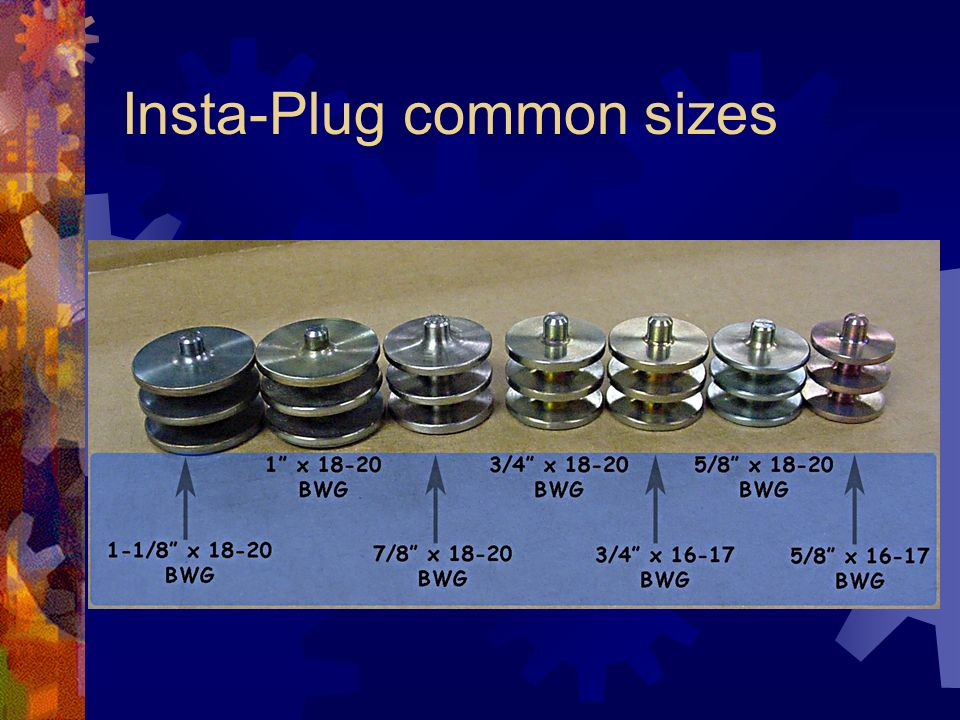 Insta-Plug common sizes