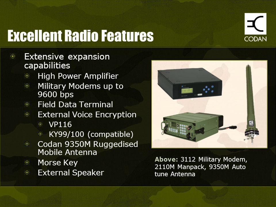 Excellent Radio Features Extensive expansion capabilities High Power Amplifier Military Modems up to 9600 bps Field Data Terminal External Voice Encry