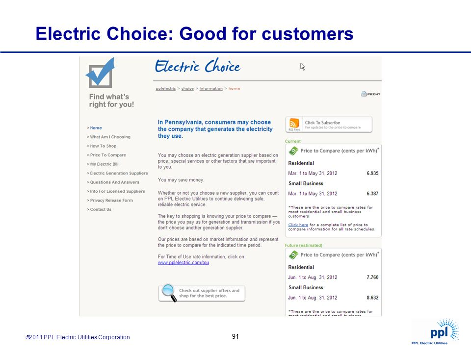 2011 PPL Electric Utilities Corporation 91 Electric Choice: Good for customers 91