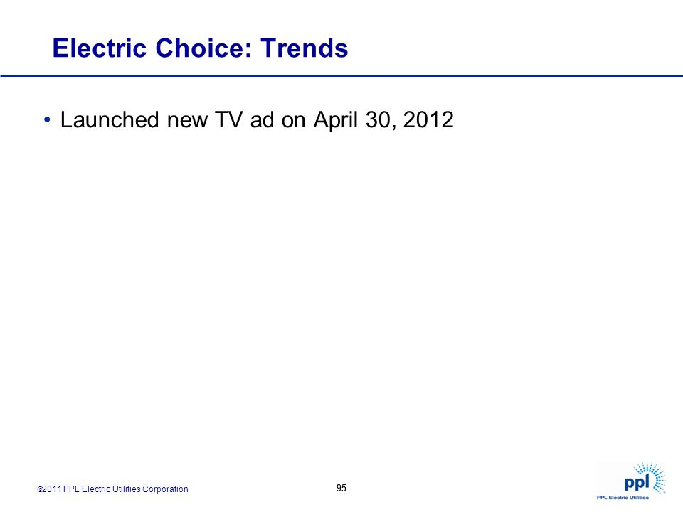 2011 PPL Electric Utilities Corporation 95 Electric Choice: Trends Launched new TV ad on April 30, 2012