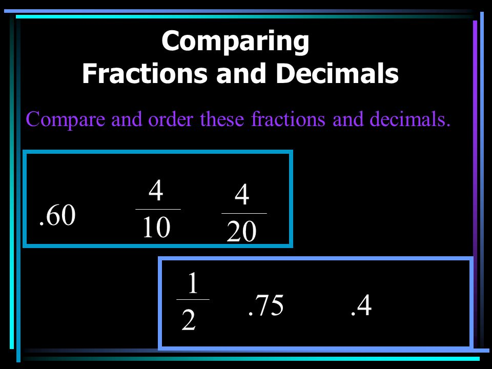 Comparing Fractions and Decimals In order to compare fractions and decimals, you have to use all of the skills you have learned and reviewed in this s