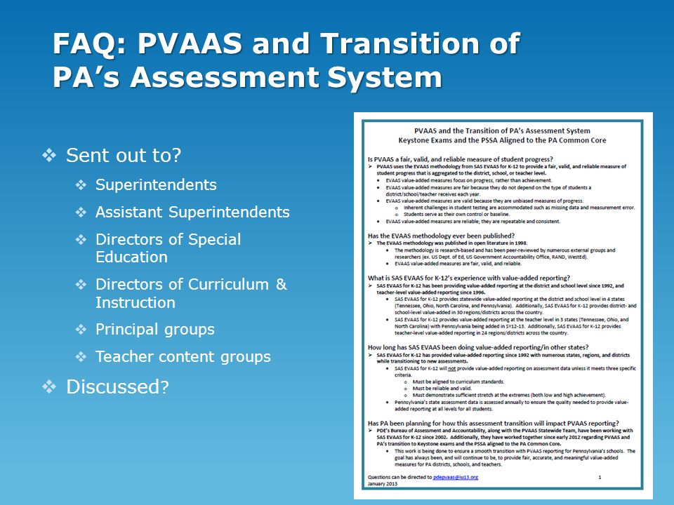 FAQ: PVAAS and Transition of PAs Assessment System Sent out to.