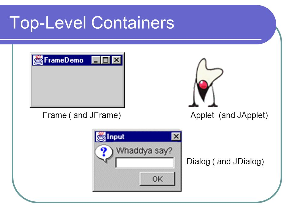 Top-Level Containers Frame ( and JFrame) Dialog ( and JDialog) Applet (and JApplet)