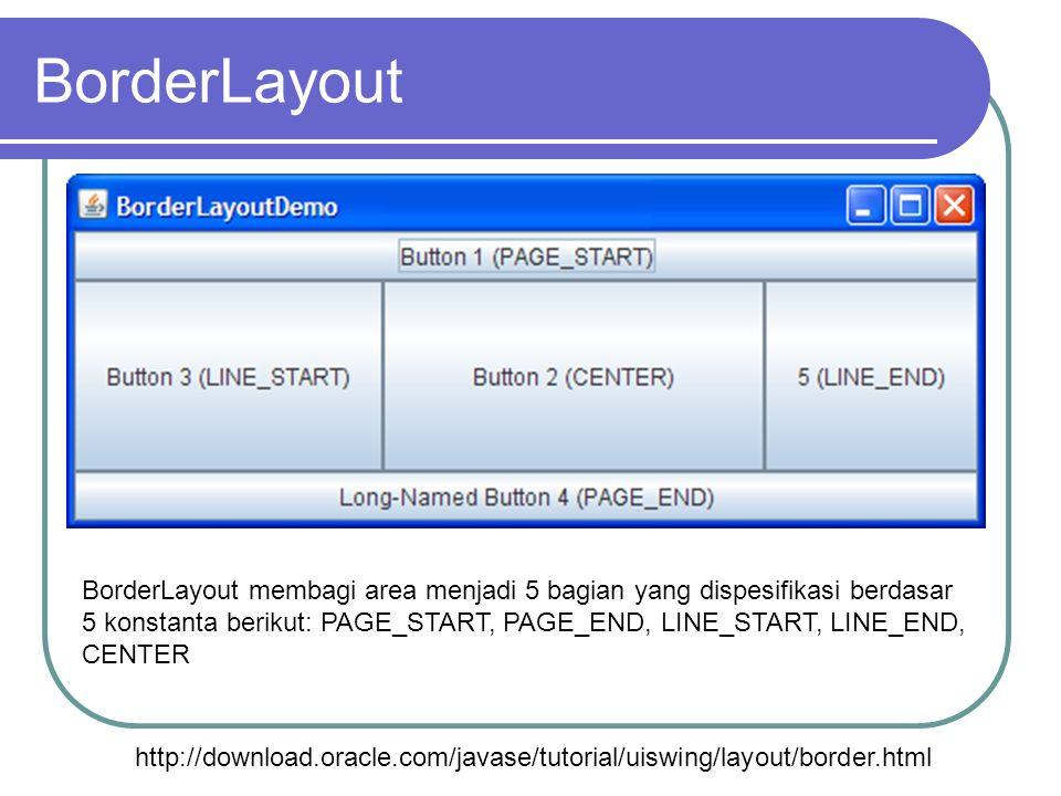 BorderLayout http://download.oracle.com/javase/tutorial/uiswing/layout/border.html BorderLayout membagi area menjadi 5 bagian yang dispesifikasi berda