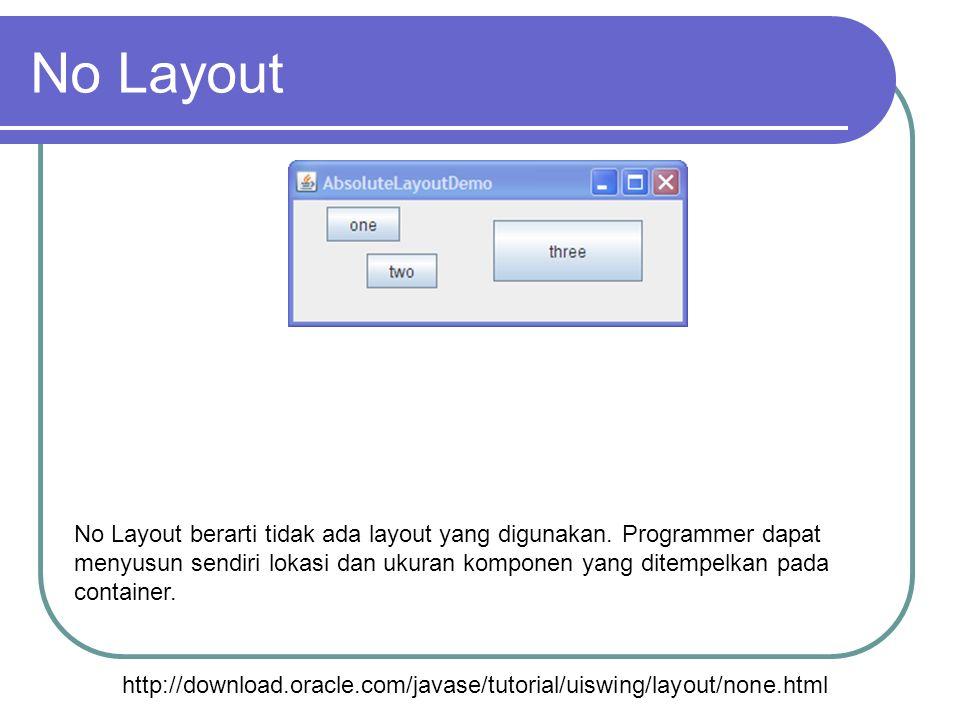 No Layout http://download.oracle.com/javase/tutorial/uiswing/layout/none.html No Layout berarti tidak ada layout yang digunakan. Programmer dapat meny