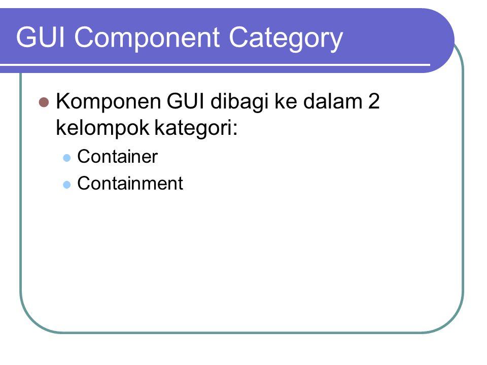 Container Container adalah component yang mampu menampung komponen lain dan merupakan wadah untuk meletakkan containment component Misalkan form, panel