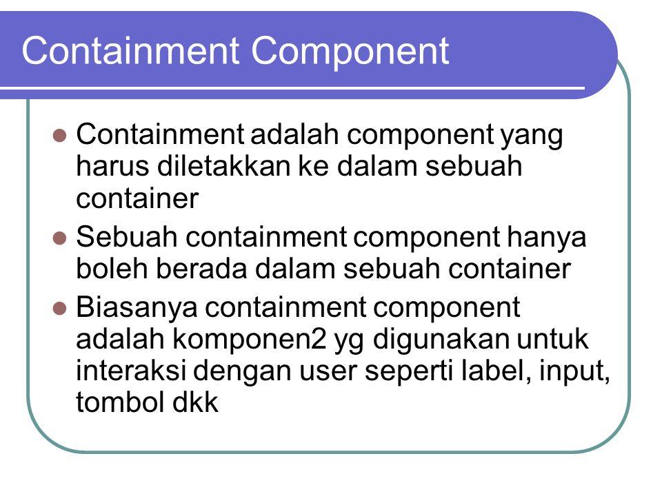 Containment Component Containment adalah component yang harus diletakkan ke dalam sebuah container Sebuah containment component hanya boleh berada dal