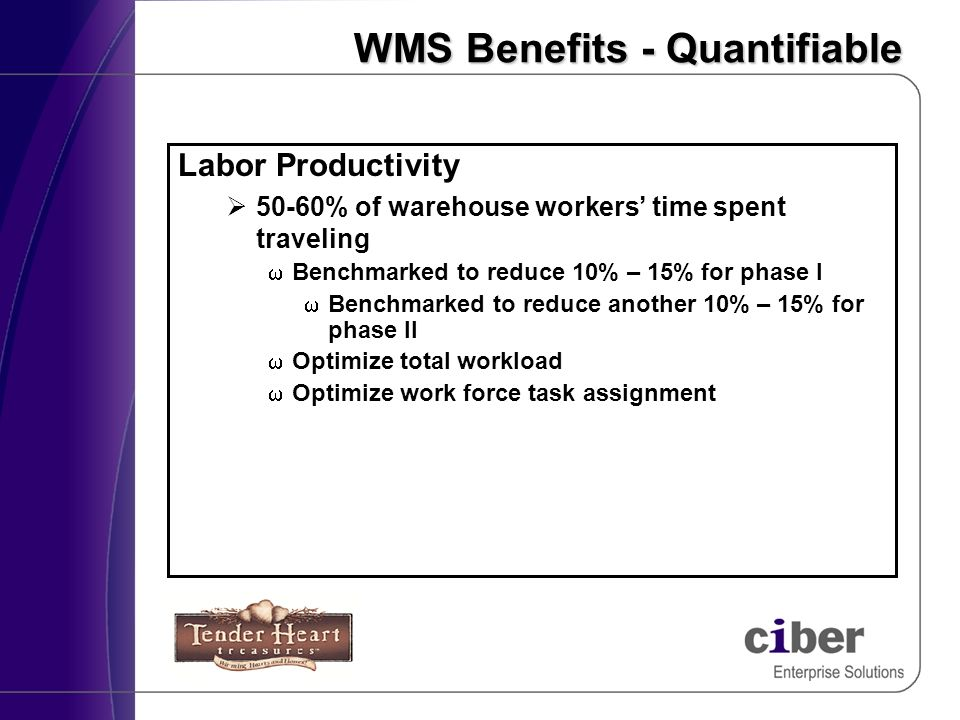 WMS Benefits - Quantifiable Labor Productivity 50-60% of warehouse workers time spent traveling Benchmarked to reduce 10% – 15% for phase I Benchmarke