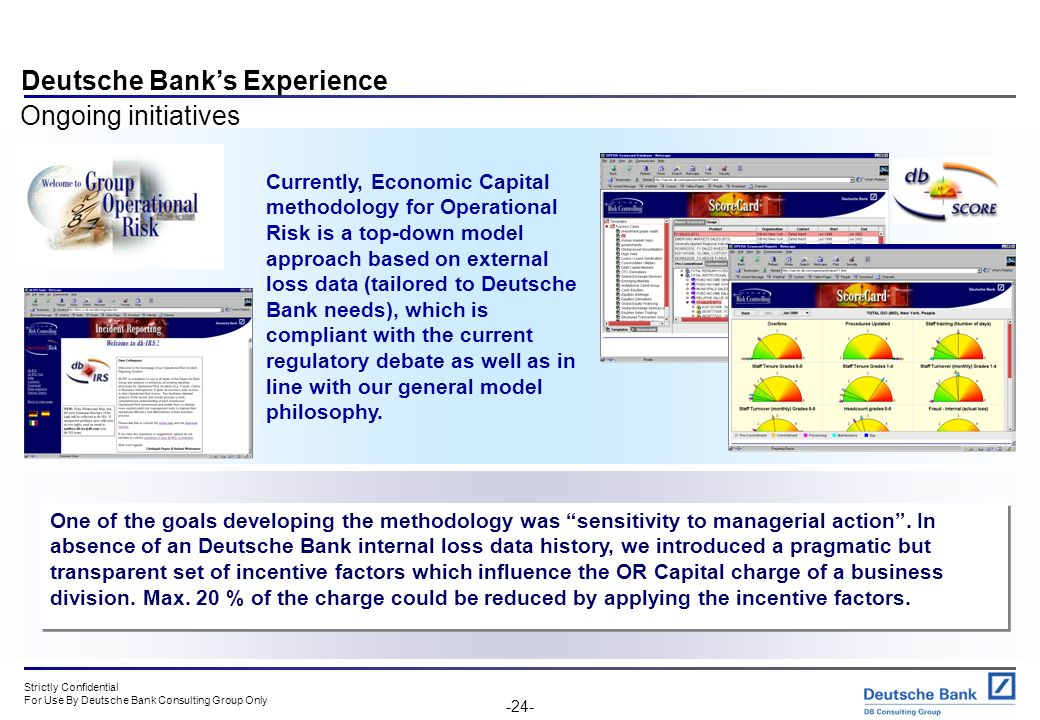 Strictly Confidential For Use By Deutsche Bank Consulting Group Only -23- Deutsche Banks Experience Ongoing initiatives Research and develop better ri