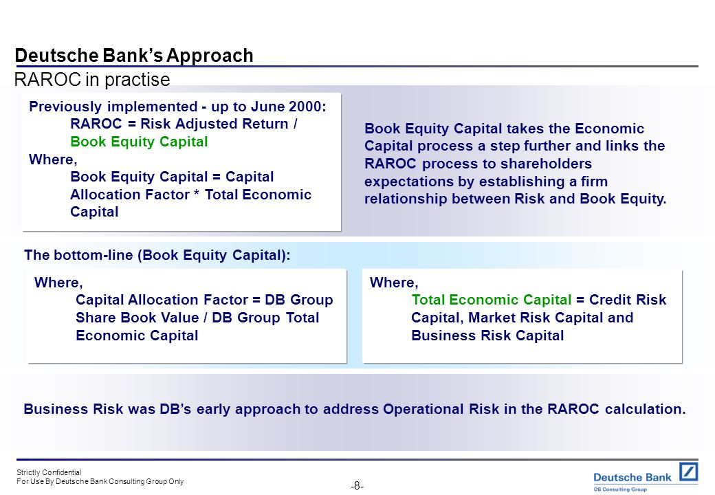 Strictly Confidential For Use By Deutsche Bank Consulting Group Only -7- The RAROC ratio can be quoted against any time horizon, however the 'standard