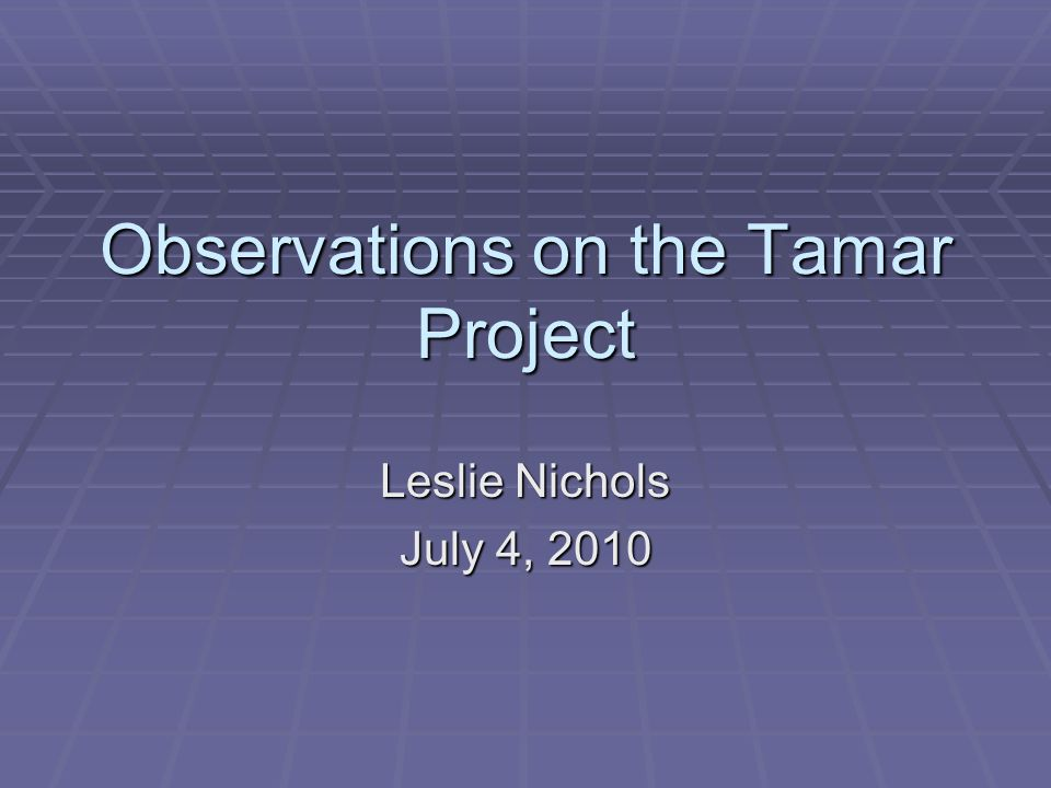 Observations on the Tamar Project Leslie Nichols July 4, 2010