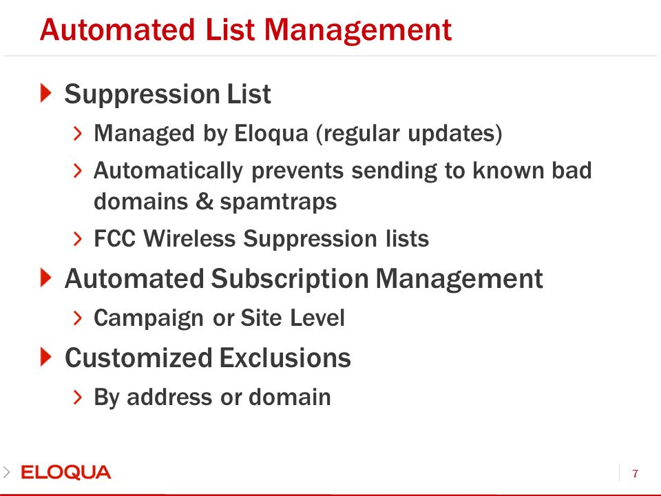 Automated List Management Suppression List Managed by Eloqua (regular updates) Automatically prevents sending to known bad domains & spamtraps FCC Wir