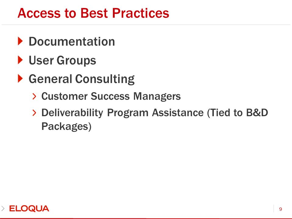Access to Best Practices Documentation User Groups General Consulting Customer Success Managers Deliverability Program Assistance (Tied to B&D Package