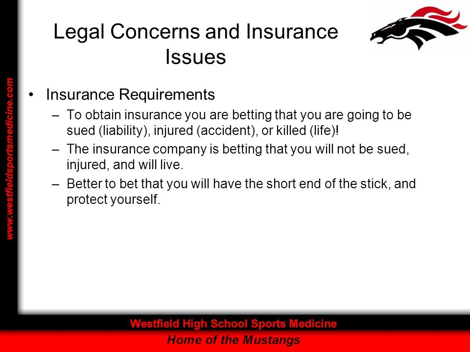 Legal Concerns and Insurance Issues Insurance Requirements –To obtain insurance you are betting that you are going to be sued (liability), injured (accident), or killed (life).