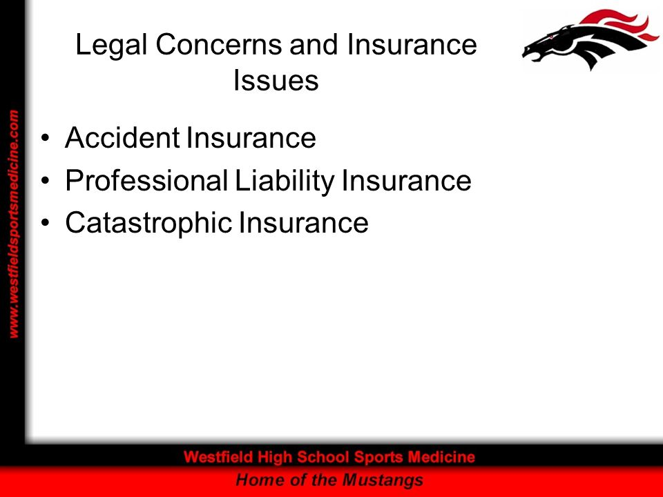 Legal Concerns and Insurance Issues Accident Insurance Professional Liability Insurance Catastrophic Insurance