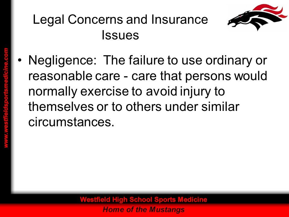 Legal Concerns and Insurance Issues The Standard of Reasonable Care: –assumes that an individual is neither exceptionally skilled nor extraordinarily cautious, but is a person of reasonable and ordinary prudence.