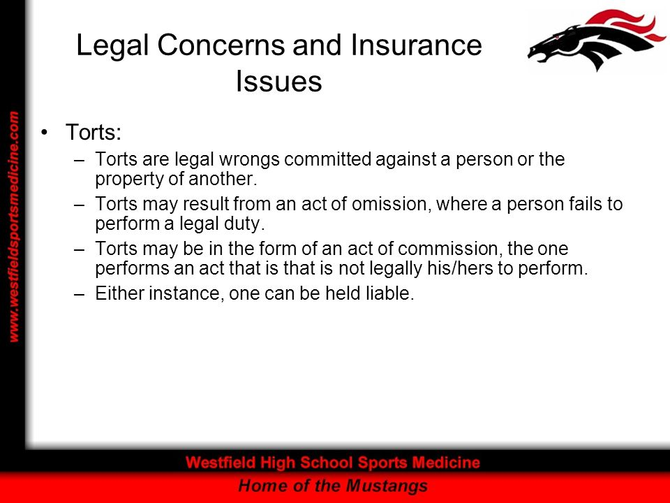Legal Concerns and Insurance Issues Negligence is alleged when an individual: –1.