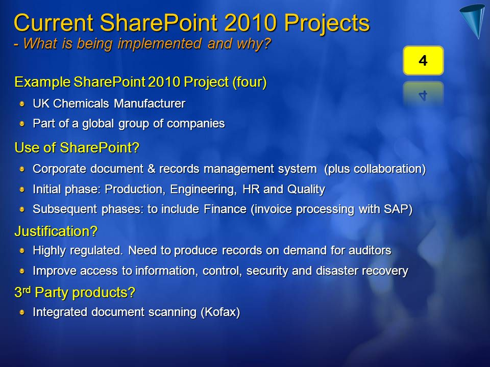 Example SharePoint 2010 Project (four) UK Chemicals Manufacturer Part of a global group of companies Use of SharePoint.