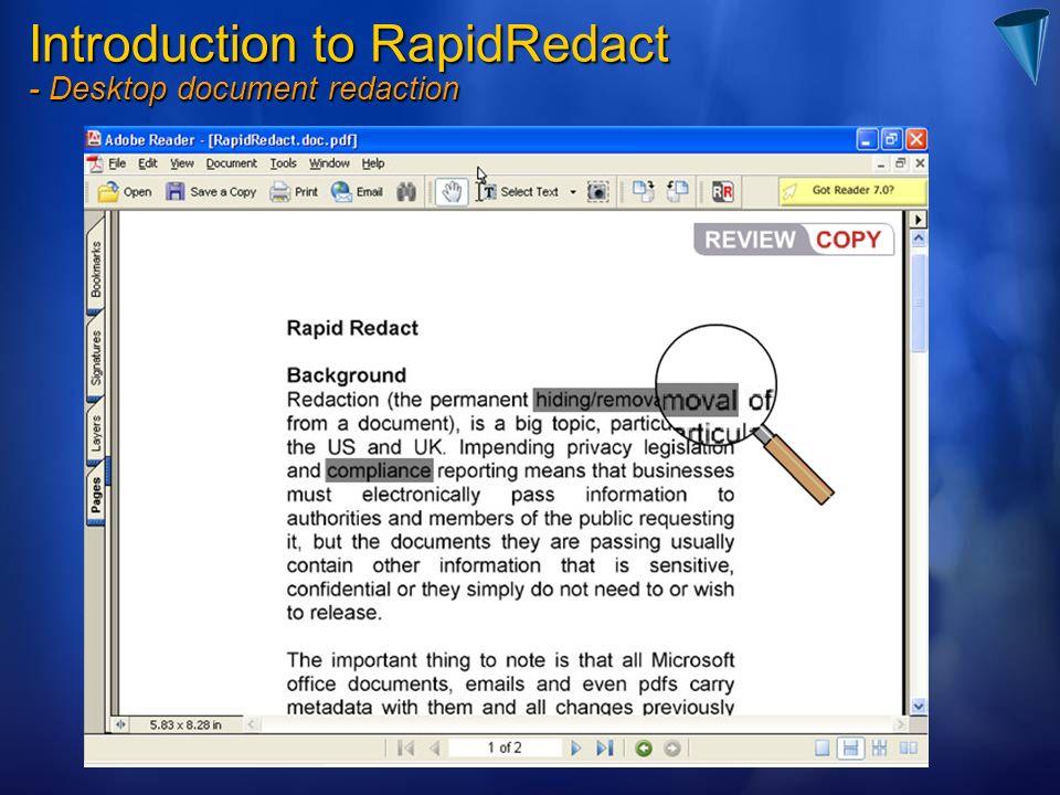 Introduction to RapidRedact - Desktop document redaction