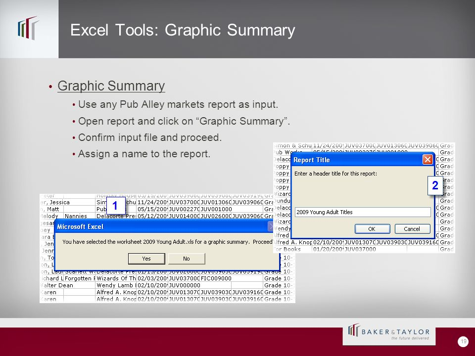 Excel Tools: Graphic Summary Graphic Summary Use any Pub Alley markets report as input.