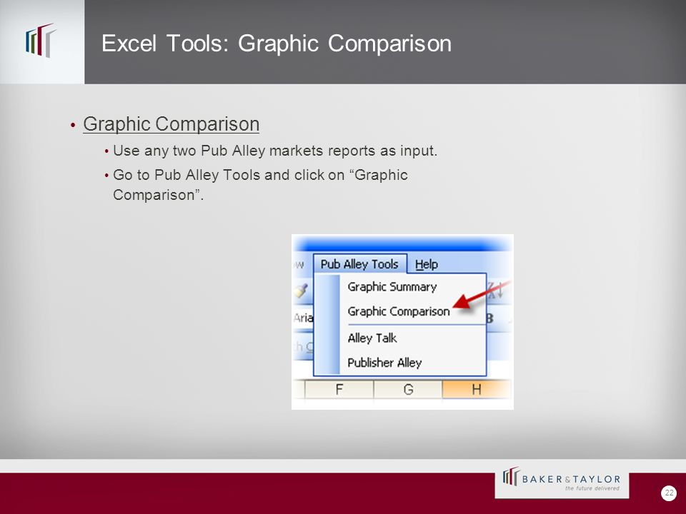 Excel Tools: Graphic Comparison Graphic Comparison Use any two Pub Alley markets reports as input.